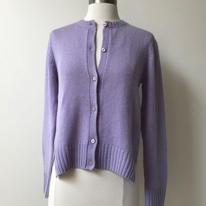 Prada Lilac Cashmere Leather Elbow Cardigan Sz 42